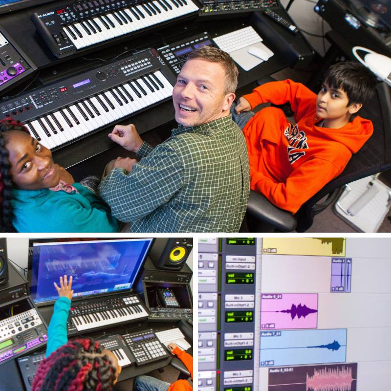 A mentor and two Clubhouse mentors from Charlottesville work together in a music studio