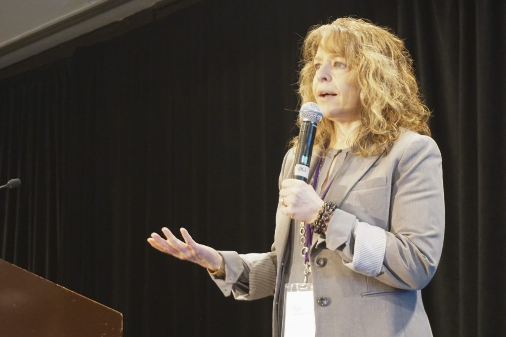 Andrea Wood, head of social impact at Best Buy speaks to conference attendees