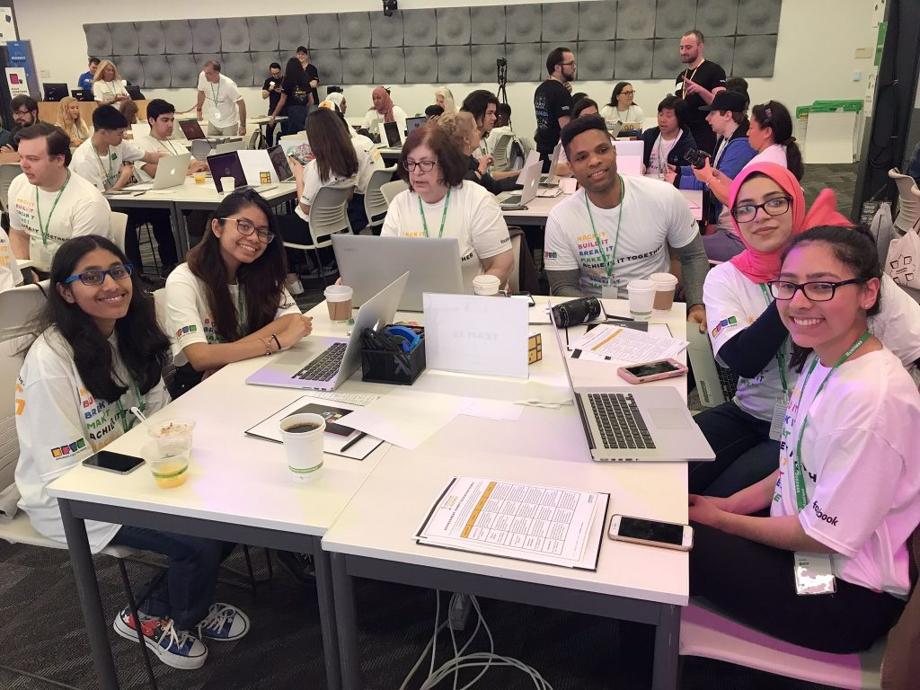 Members from The Best Buy Teen Tech Center @ Jersey City Boys & Girls Club work together at the Facebook Engineer for the week Achievement Summit