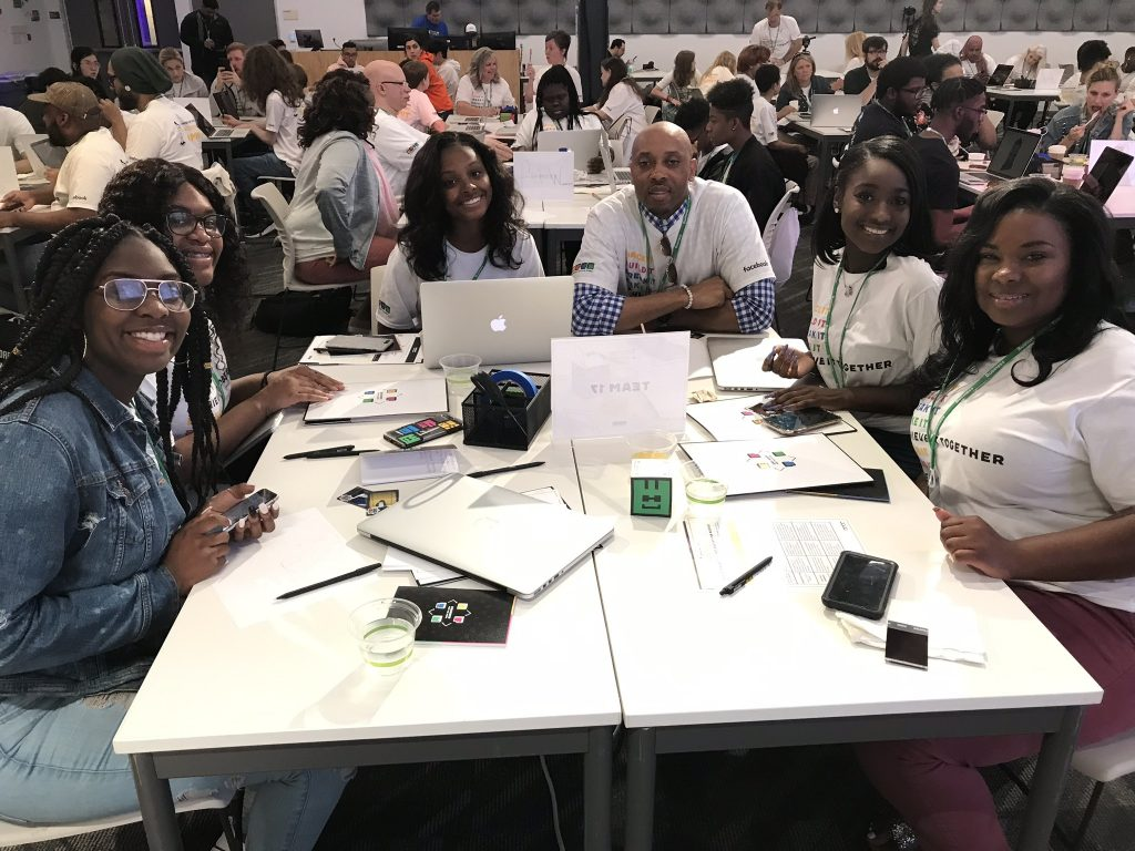 Members of Hartford's Girls for Technology work together at the Facebook Engineer for the Week Achievement Summit.