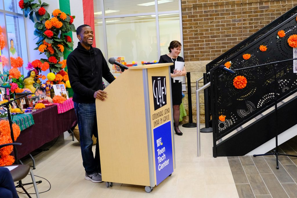 St. Paul Mayor Melvin Carter shares remarks as CLUES President Ruby Azurdia-Lee looks on.
