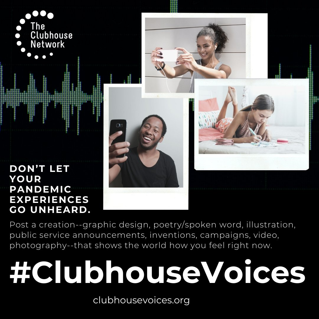 #ClubhouseVoices Social media promotional graphic
